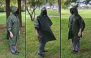(2Pack) Waterproof Rain Poncho Multifunctional Hooded Outdoor Raincoat Lightweight Camping Backpack Cover Rain