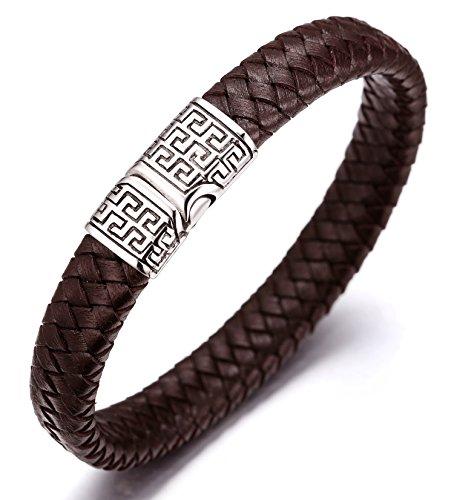 Halukakah 'SOLO' Men's Genuine Leather Bracelet Titanium Magnetic Clasp...