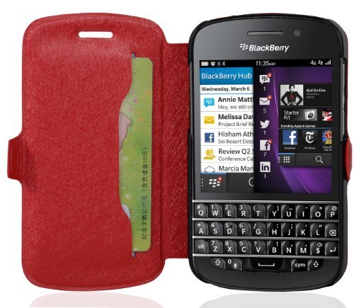 Cadorabo - Ultra Slim Book Style Cover for Blackberry Q10 with Card Slot and Stand Function - Etui Case Protection Skin in CANDY-APPLE-RED