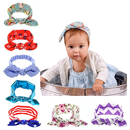 7 Packs New Born Baby Toddler Girls Headband Hair Band Tie,Turban Knotted