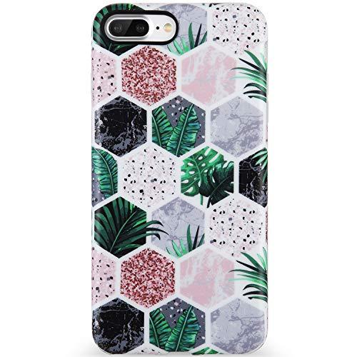 KINFUTON iPhone 7 Plus Case,iPhone 8 Plus Case,Multi-Colored Marble for Women Girls Soft Silicon Rubber Clear Bumper Matte TPU Slim Cute Protective Phone Case for iPhone 7 Plus iPhone 8 ()