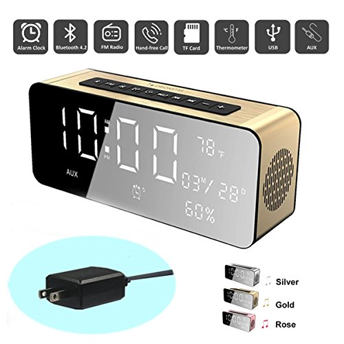 Orionstar Wireless Bluetooth Alarm Clock Radio Speaker with HD Sound & Big Digital Screen Compatible with iPhone/Android/PC4/Aux/Micro SD/TF/USB for Bedroom Office Model A10 Gold with Wall Charger