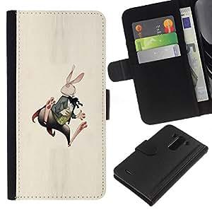 iBinBang / Flip Funda de Cuero Case Cover - Conejito Conejo Orejas Largas Blanca arte del cuento - LG G3