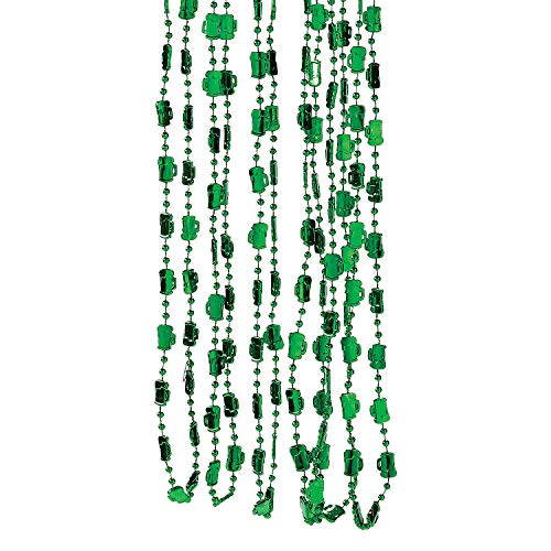 Fun Express - Green Beer Mug Beaded Necklaces for St. Patrick's Day - Jewelry - Mardi Gras Beads - Mot Shaped - St. Patrick's Day - 24 Pieces