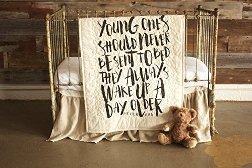 Young Ones - Linen Crib Quilt Baby Bedding - 36x45 by The Barn Social