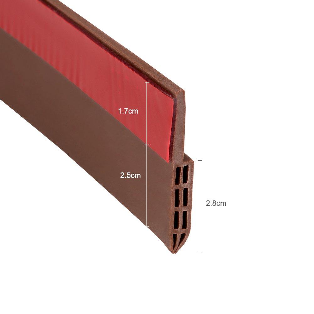 Coquimbo Burlete bajo puerta, burlete autoadhesivo de goma de silicona, aislamiento acústico / a prueba de viento / tira de sellado a prueba de polvo (marrón)