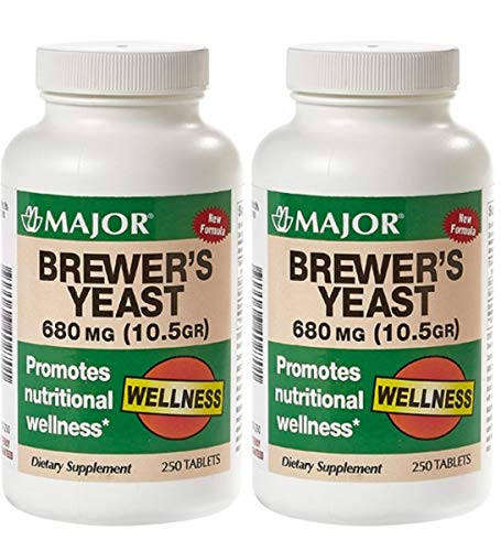 MAJOR Brewers Yeast 680MG(10.5GR) TABS Brewers Yeast (Saccharomyces CEREVISIAE)-680 MG Brown 250 Tablets UPC 309046402701 (Pack 2)
