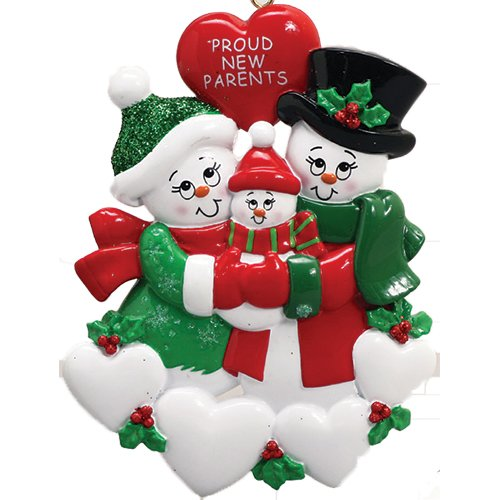Personalized Proud New Parents Christmas Tree Ornament 2019 - Happy Two Snowman Mom Dad Couple Love Baby Shower Boy Girl Gender Neutral Holiday Congratulation Welcome God Bless - Free Customization (Parents Ornament New)