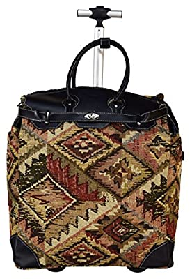 """Chocolate New York Laptop Rolling 18"""" Computer Tote Briefcase Carry-On Luggage"""