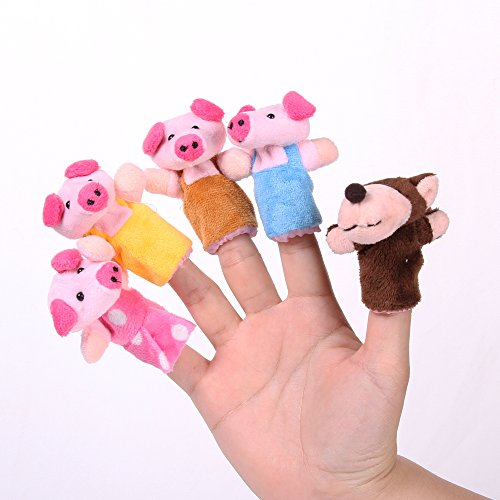 """Foto4easy """"The Three Little Pigs"""" Animal Finger Puppet Toy Educational Toys Storytelling Doll ( 8pcs/set)"""