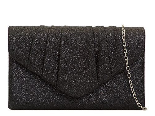 Black Mod Hand Purse Evening Wedding Bag Sparkle Party Glitter Stunning Clutch O8rvwqO1x