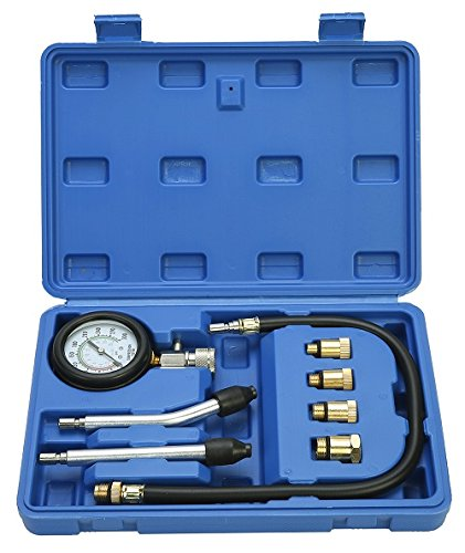 8MILELAKE Professional Petrol Gas Engine Cylinder Compression Tester Gauge Kit Auto Tool (Protector Hose Gauge)