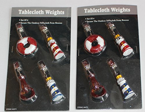 Gourmet Chef Nautical Lighthouses, Lobster, Life Preserver Tablecloth Weights, Set of 8 (Weights Lobster Tablecloth)