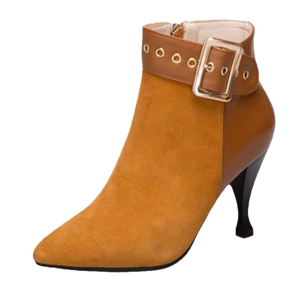 braun ZQZQ Mode, Stiefeletten, Spitz, High Heel, Wild, Wild, Wild, Damenschuhe 709