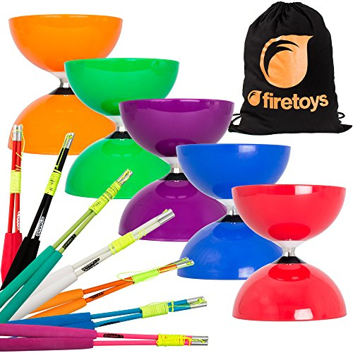 - Juggle Dream Big Top Diabolo, Superglass Fibre Diablo Sticks & Firetoys Bag (Green Diabolo/Blue Sticks)