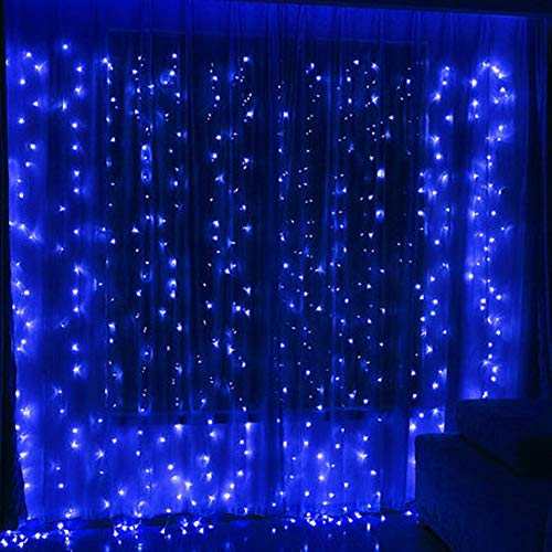 Twinkle Star 300 LED Window Curtain String Light for Christmas Wedding Party Home Garden Bedroom Outdoor Indoor Wall Decoration(Blue) (Christmas Ice Blue Lights)