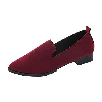 Mocasines mujer , ❤️Amlaiworld Sandalias planas de mujer Mocasines de moda sólida Calzado Zapatos al aire libre zapatillas Mujer Bailarinas (rojo, ...