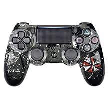 eXtremeRate Hydro Dipped Front Housing Shell Case, Faceplate Cover Replacement Kit for Playstation 4 PS4 Slim PS4 Pro Controller (CUH-ZCT2 JDM-040 JDM-050 JDM-055) - Satan 666