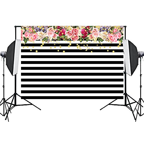 Aisnyho Photography Backdrops,Black and White Stripe Background Pink Rose Flower for Birthday Party Banner Wedding Photo Studio 7x5FT -