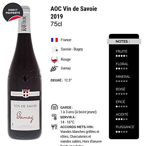 Vin-de-Savoie-Gamay-Rouge-2019-Philippe-et-Sylvain-Ravier-Vin-AOC-Rouge-de-Savoie-Bugey-Cepage-Gamay-Lot-de-12x75cl