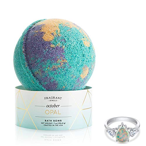 Fragrant Jewels Opal October Birthstone Bath Bomb with Collectible Ring (Size ()