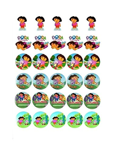30 x DORA THE EXPLORER MIXED IMAGES EDIBLE CUPCAKE TOPPERS 107