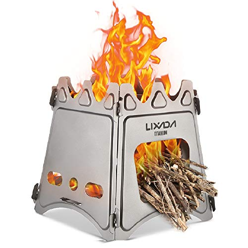 Lixada Camping Stove,Portable Folding Wood Stove Lightweight Titanium Alcohol Stove for Outdoor Cooking Backpacking Stove (Backpack Cooking Stove)