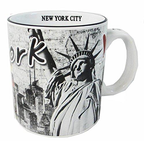 New York Souvenir 20 Oz Large Coffee Mug with Black and White NYC Skyline and Statue of Liberty -