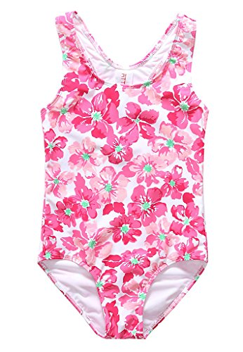 ALove Girl's Floral Printed One Piece Swimming Costume Red 8