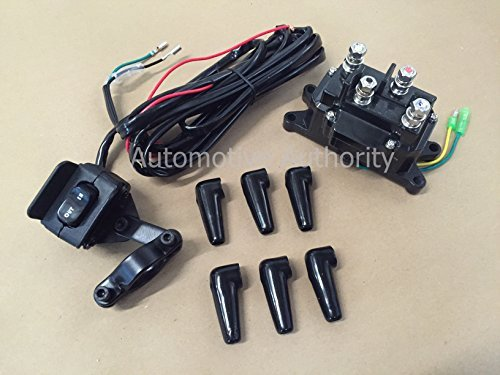 12V Solenoid Relay Contactor & Winch Rocker Thumb Switch COMBO for ATV UTV by Autmotive Authority
