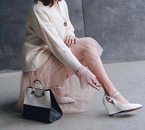 Zapatos Tac Estrecha Las Cu a Solos de de Hebilla de Zapatos Mujeres Punta qS0HTAww