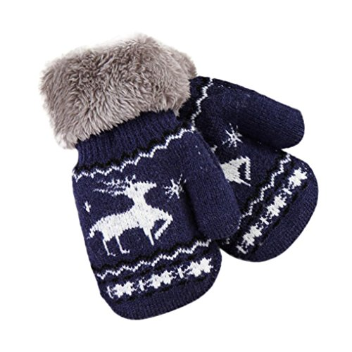 Kollmert Infant Christmas Deer Gloves Thicken Baby Girls Boys Winter Warm Mittens (Navy)