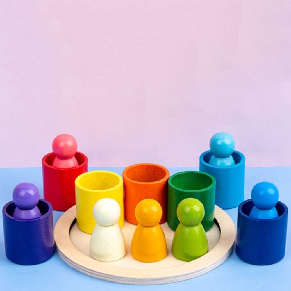 Regenbogen Holz Spielzeug Puzzle Spielen Bl/öcke Bausteine Vorschule Stapeln Spielzeug Baby Lernen Spielzeug f/ür Kleinkinder