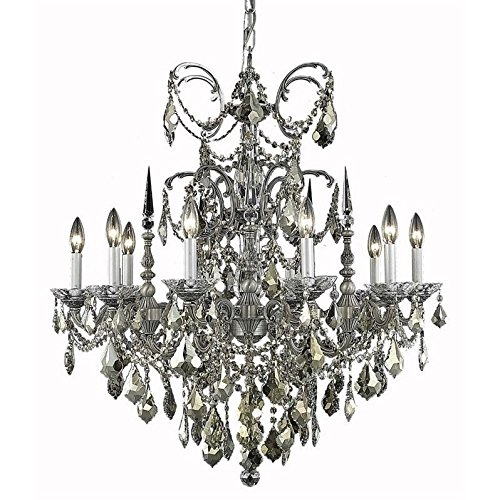Elegant Lighting 9710D30PW/RC Athena Collection 10-Light Hanging Fixture with Swarovski Spectra Crystals, Pewter Finish