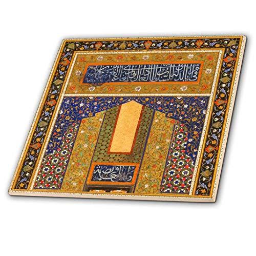 3dRose ct _ 162525_ 4Arabian Floral abstracto oscuro azul marino y oro mate Flowery patrón islámico Islam árabe...