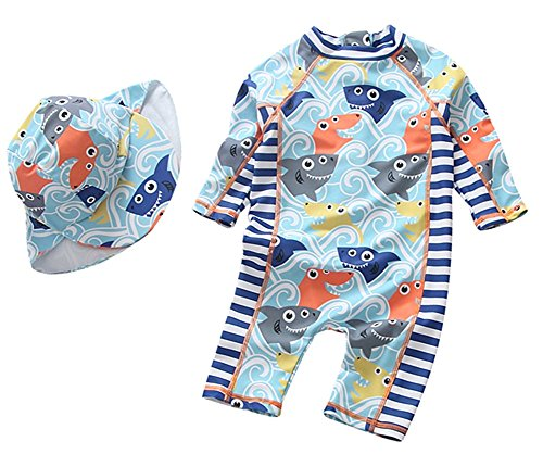 Baby Boys Swimsuit One Piece Toddlers Zipper Bathing Suit Swimwear with Hat Rash Guard Surfing Suit UPF 50+ (Shark, 9-18 Months)