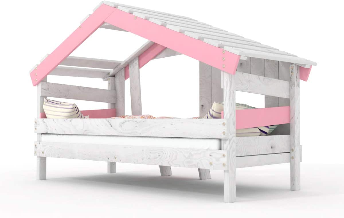 BIBEX Apart Chalet - Cuna de Juegos para niño, Madera de Pino Maciza, Color Rosa