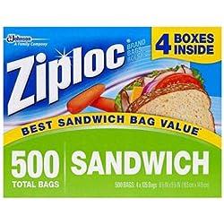 Ziploc Sandwich Bags (500 Sandwich Bags) (•Bag Dimensions: 6-1/2 in. x 5-7/8 in.)