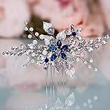 Olbye Wedding Hair Comb Blue Rhinestone Bridal Hair Accessories for Bride and Bridesmaids Wedding Hair Piece Silver