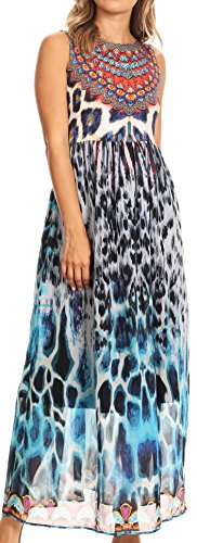 Sakkas P27 - Afia Animal Print Empire Waist Sleeveless Long Dress With Embellishment - 17211-Blackmulti - (Animal Print Empire Dress)