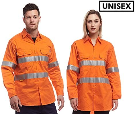 catch vivid and great in style crazy price WS Workwear Reflective KoolFlow Cotton Shirt Orange: Amazon ...