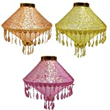 Shreeji Decoration (40 *30 cm) 3 Pcs Multicolor Cloth Lantern for All Festival Orange, Yellow, Pink Cloth Table Lantern (40 cm X 30 cm, Pack of 3)