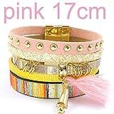 Welcometoo Fashion Bracelet Bohemian Bracelet & banglesjewelry,pinksize17CM