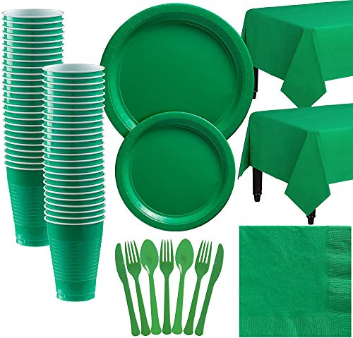 (Party City Big Party Pack Festive Green Paper Tableware Kit and Supplies for 50 Guests, Includes Table Covers and More)