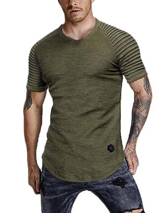 60c92ea3 Nicetage Men's Tops Casual Pullover Hoodie Pleated Raglan Long Sleeve  Hooded Basic T-Shirt Slim Fit Sweatshirt
