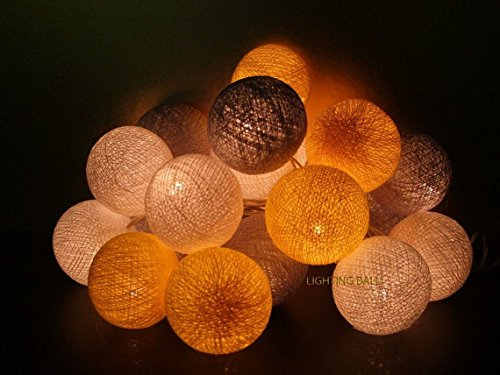 (String Lights Mixed Grey Yellow Color Tone Lamp Cotton Ball 20 Party Handmade for Kids Room)