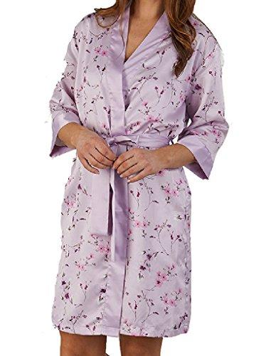 Slenderella Kimono en Satin - Violet à ImpriméFleuri GL5702