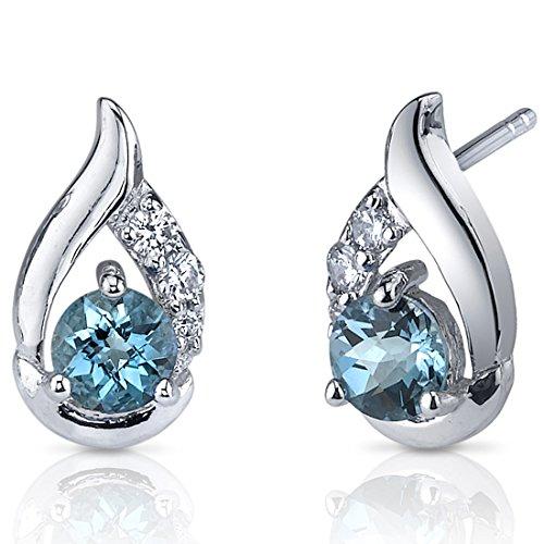 London Blue Topaz Earrings Sterling Silver Checker - Checker Sterling