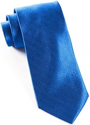 The Tie Bar 100% Woven Silk Solid Herringbone Royal Blue Tie