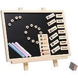MyGift 10 Inch Wood Easel Blackboard, Wall Mountable Magnetic Chalk Board Set